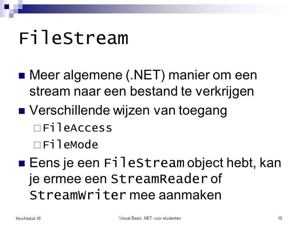 Hoofdstuk 18 Visual Basic.NET voor studenten11 FileMode Append : open op het einde of nieuw Create : nieuw of overschrijf CreateNew : nieuw of IOException Open : open of FileNotFoundException OpenOrCreate : open of nieuw Truncate : openen en overschrijven