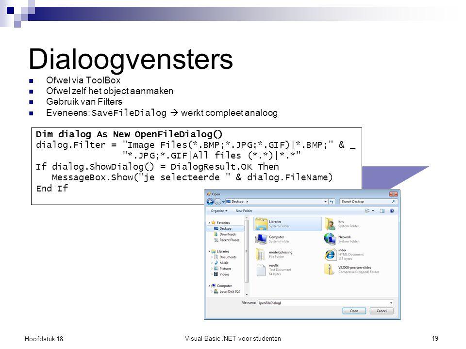 Hoofdstuk 18 Visual Basic.NET voor studenten20 Oefening: ColorDialog