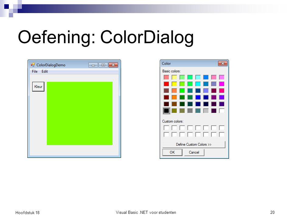 Hoofdstuk 18 Visual Basic.NET voor studenten21 Een menu creëren MenuStrip in Toolbox selecteren 'Type Here' invullen naargelang aantal menu's en menu items Click event van een item afhandelen Gebruik van &, bv: E&xit   sneltoets ALT-x Separators  rechtsklik in design mode