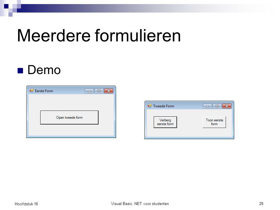 Hoofdstuk 18 Visual Basic.NET voor studenten28 Meerdere formulieren Demo