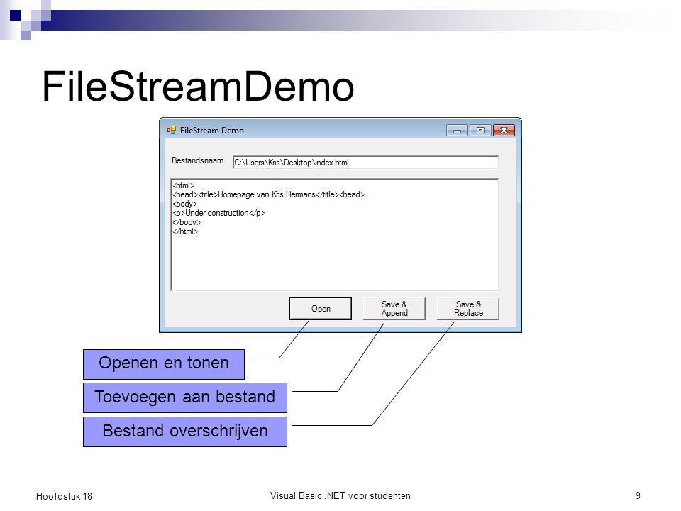 Hoofdstuk 18 Visual Basic.NET voor studenten10 FileStream Meer algemene (.NET) manier om een stream naar een bestand te verkrijgen Verschillende wijzen van toegang  FileAccess  FileMode Eens je een FileStream object hebt, kan je ermee een StreamReader of StreamWriter mee aanmaken