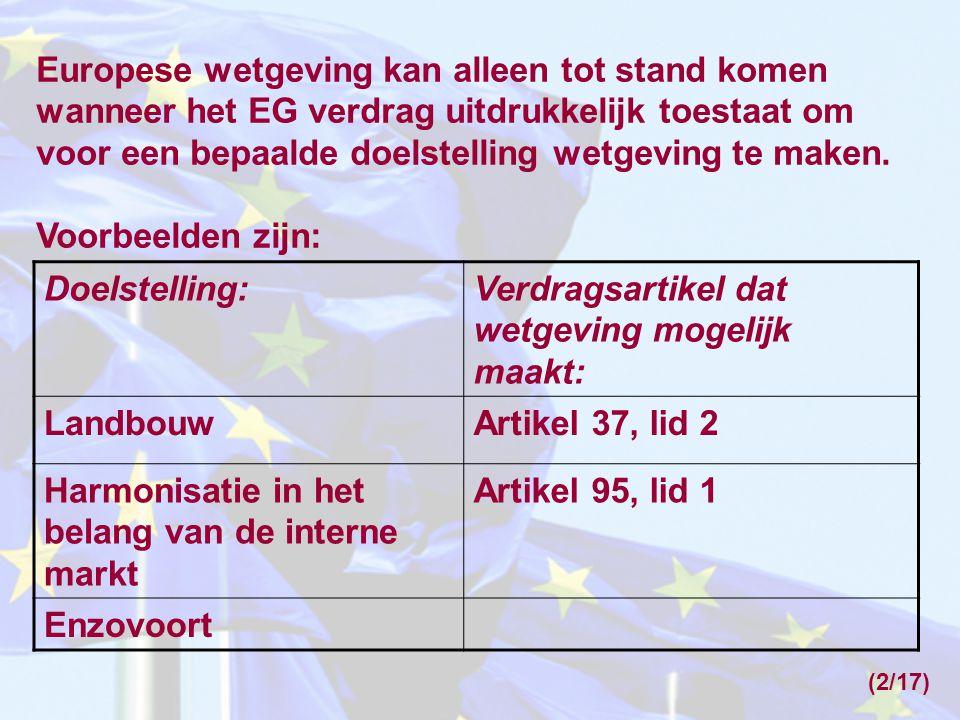 Europese wetgeving kan alleen tot stand komen wanneer het EG verdrag uitdrukkelijk toestaat om voor een bepaalde doelstelling wetgeving te maken. Voor