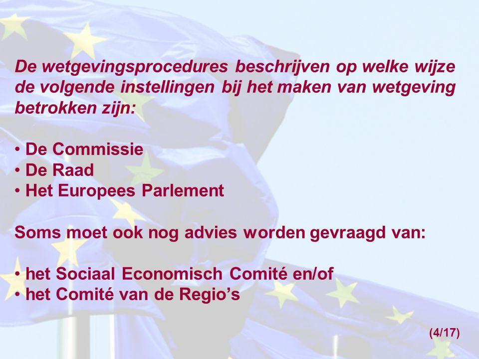 De wetgevingsprocedures beschrijven op welke wijze de volgende instellingen bij het maken van wetgeving betrokken zijn: De Commissie De Raad Het Europ