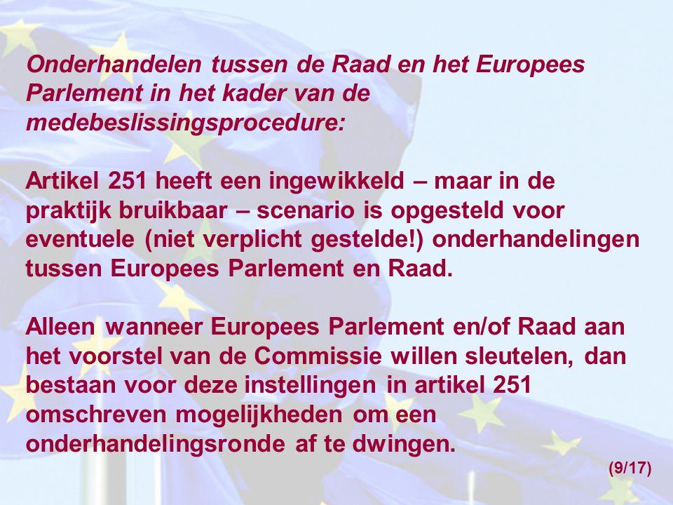 Onderhandelen tussen de Raad en het Europees Parlement in het kader van de medebeslissingsprocedure: Artikel 251 heeft een ingewikkeld – maar in de pr