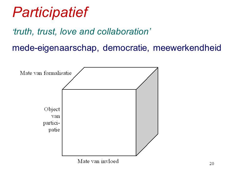 h520 Participatief ' truth, trust, love and collaboration' mede-eigenaarschap, democratie, meewerkendheid