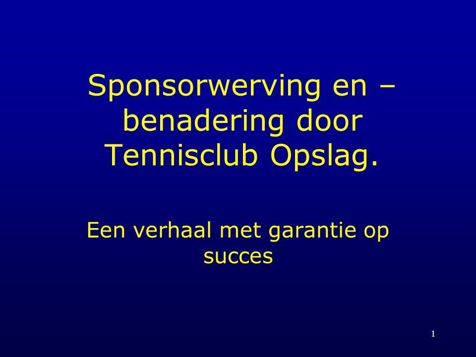 1 Sponsorwerving en – benadering door Tennisclub Opslag. Een verhaal met garantie op succes