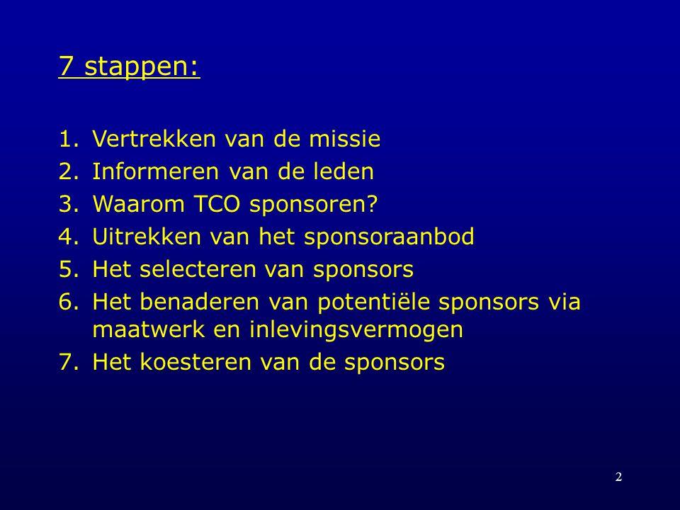 2 7 stappen: 1.Vertrekken van de missie 2.Informeren van de leden 3.Waarom TCO sponsoren.
