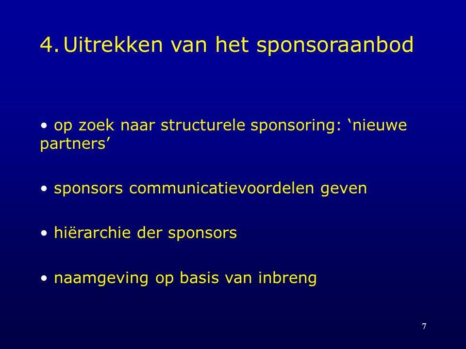 7 4.Uitrekken van het sponsoraanbod op zoek naar structurele sponsoring: 'nieuwe partners' sponsors communicatievoordelen geven hiërarchie der sponsors naamgeving op basis van inbreng