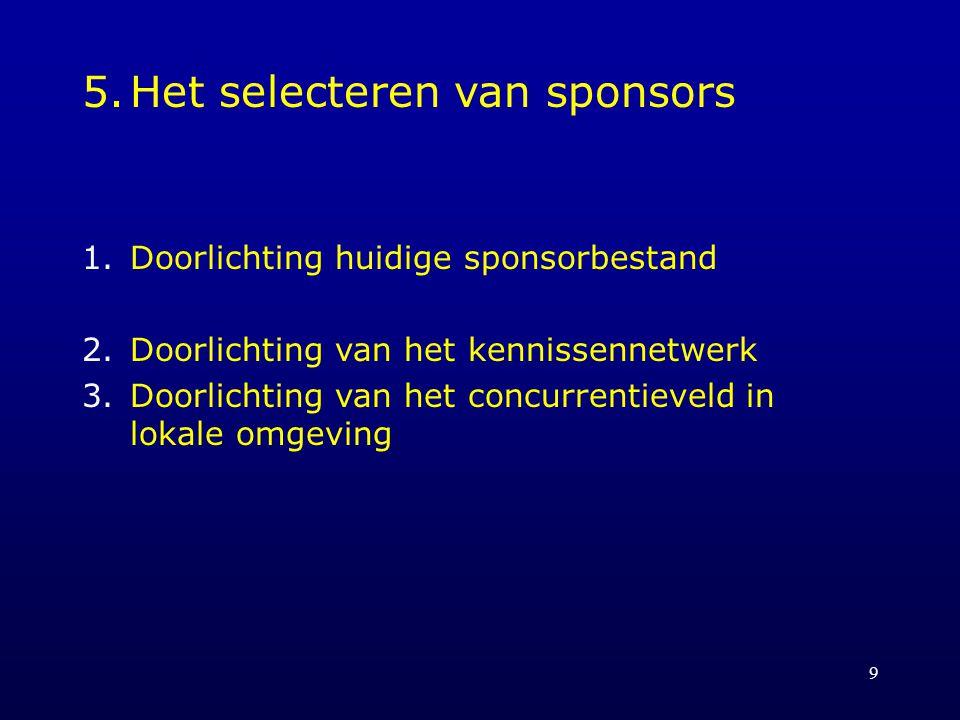 9 5.Het selecteren van sponsors 1.Doorlichting huidige sponsorbestand 2.Doorlichting van het kennissennetwerk 3.Doorlichting van het concurrentieveld in lokale omgeving