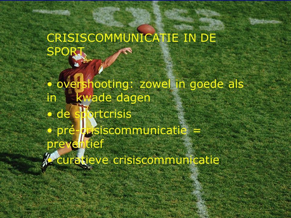 12 CRISISCOMMUNICATIE IN DE SPORT overshooting: zowel in goede als in kwade dagen de sportcrisis pré-crisiscommunicatie = preventief curatieve crisiscommunicatie
