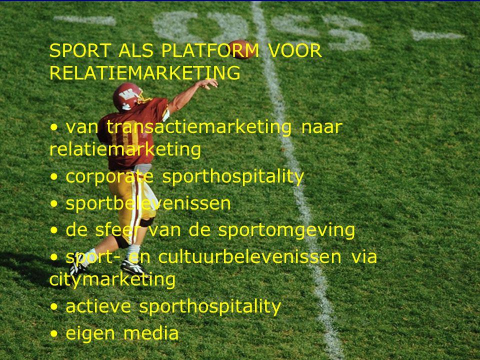 5 SPORT ALS PLATFORM VOOR RELATIEMARKETING van transactiemarketing naar relatiemarketing corporate sporthospitality sportbelevenissen de sfeer van de sportomgeving sport- en cultuurbelevenissen via citymarketing actieve sporthospitality eigen media