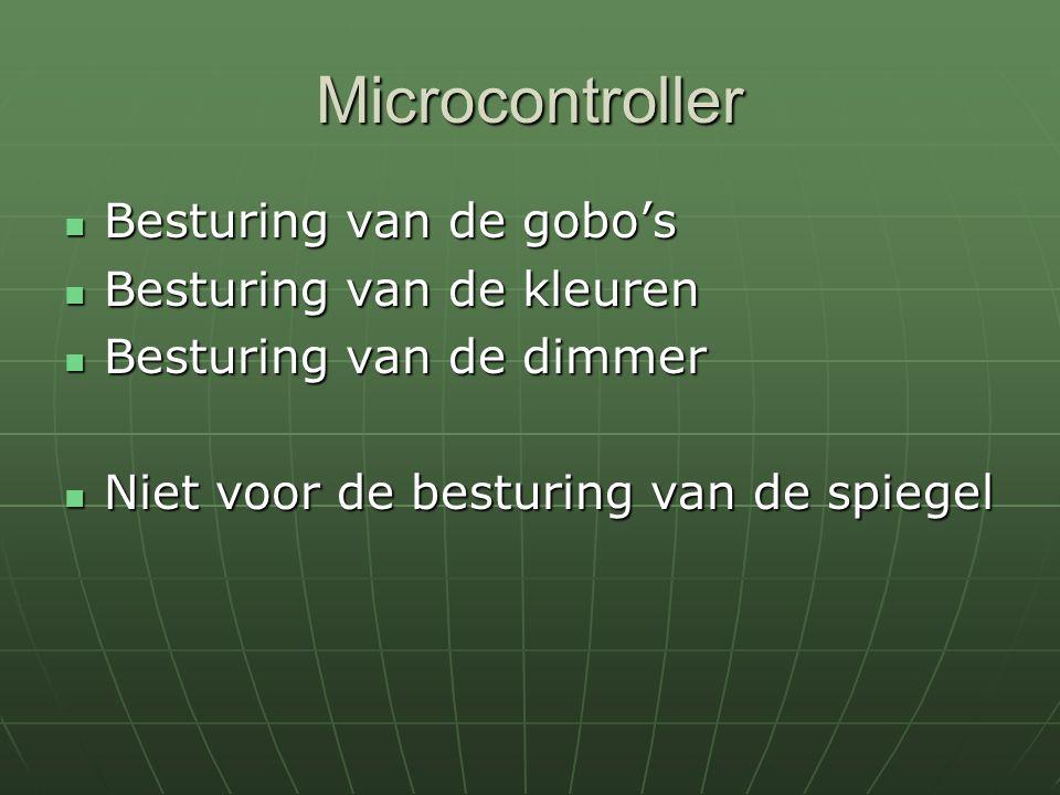 Microcontroller Besturing van de gobo's Besturing van de gobo's Besturing van de kleuren Besturing van de kleuren Besturing van de dimmer Besturing va