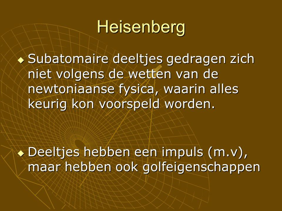Heisenberg  Subatomaire deeltjes gedragen zich niet volgens de wetten van de newtoniaanse fysica, waarin alles keurig kon voorspeld worden.  Deeltje