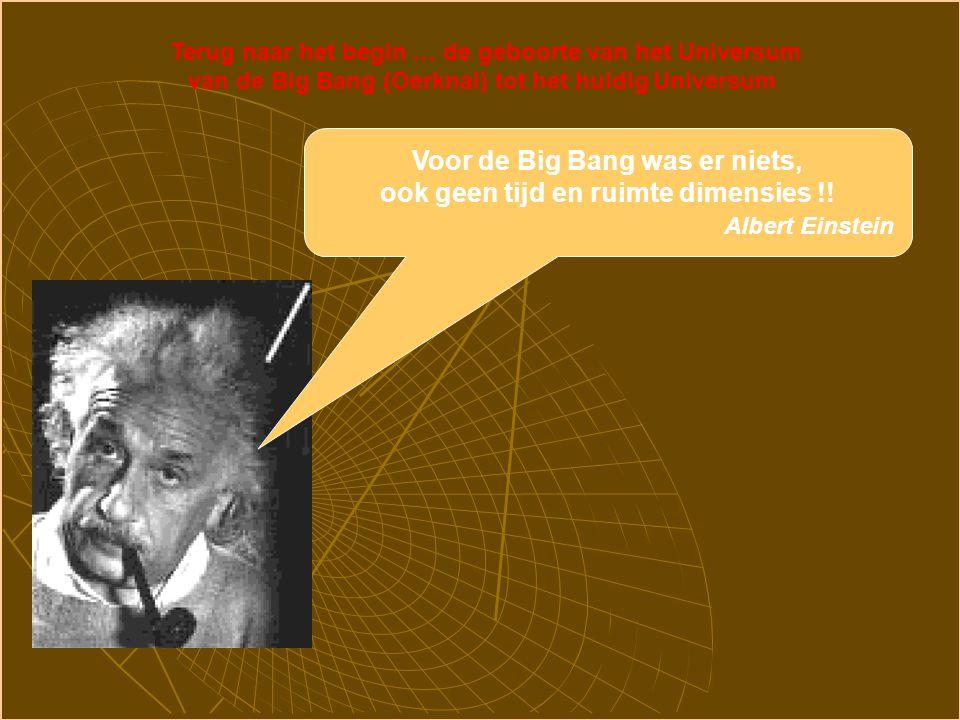 Terug naar het begin … de geboorte van het Universum van de Big Bang (Oerknal) tot het huidig Universum Voor de Big Bang was er niets, ook geen tijd en ruimte dimensies !.