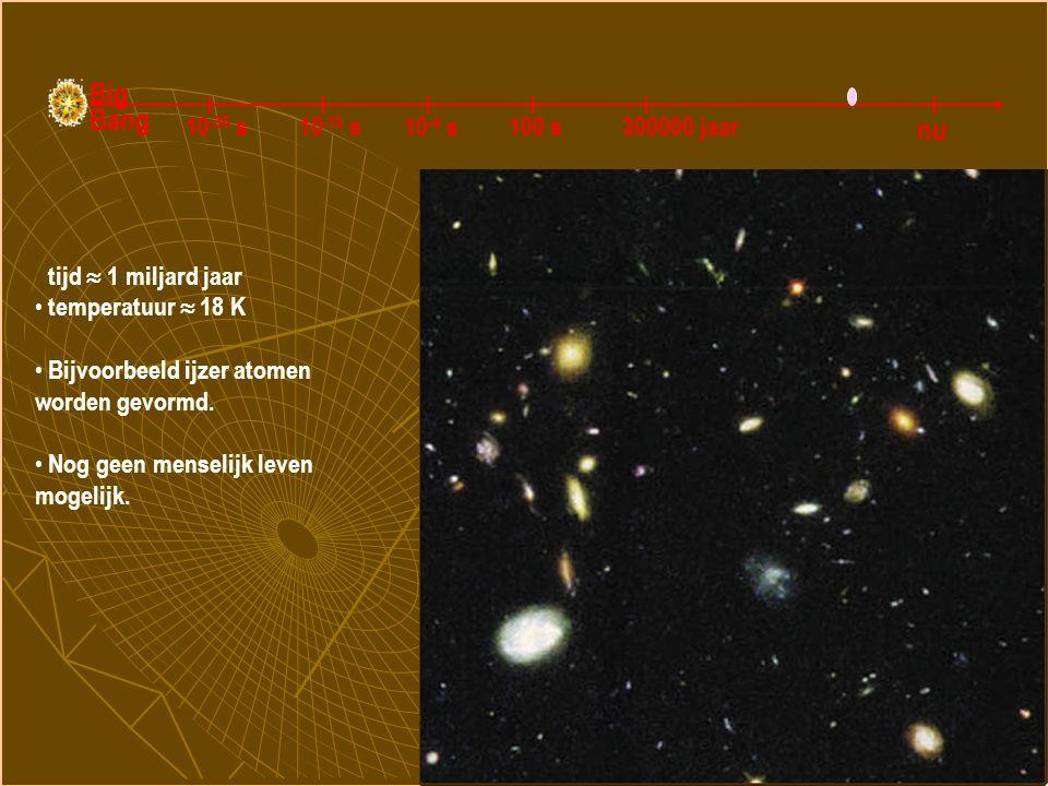 Galaxiën en zware atomen worden gevormd tijd  1 miljard jaar temperatuur  18 K Bijvoorbeeld ijzer atomen worden gevormd. Nog geen menselijk leven mo