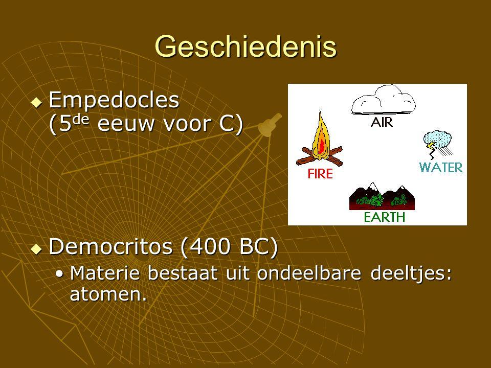 Geschiedenis  Empedocles (5 de eeuw voor C)  Democritos (400 BC) Materie bestaat uit ondeelbare deeltjes: atomen.Materie bestaat uit ondeelbare deeltjes: atomen.