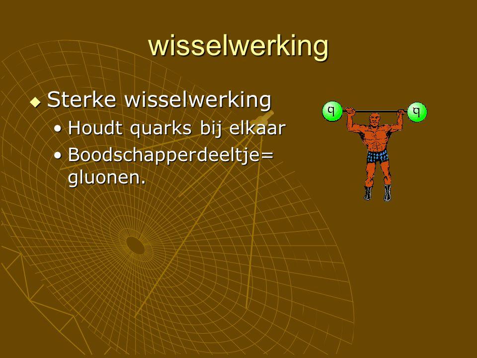 wisselwerking  Sterke wisselwerking Houdt quarks bij elkaarHoudt quarks bij elkaar Boodschapperdeeltje= gluonen.Boodschapperdeeltje= gluonen.
