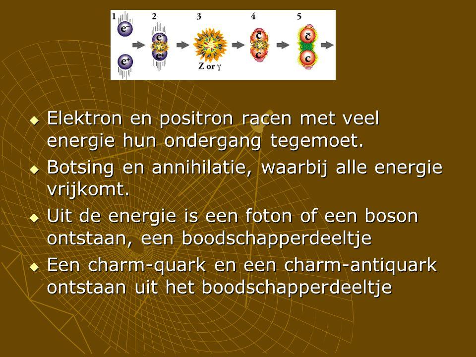  Elektron en positron racen met veel energie hun ondergang tegemoet.  Botsing en annihilatie, waarbij alle energie vrijkomt.  Uit de energie is een