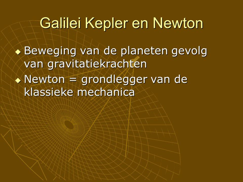 Galilei Kepler en Newton  Beweging van de planeten gevolg van gravitatiekrachten  Newton = grondlegger van de klassieke mechanica