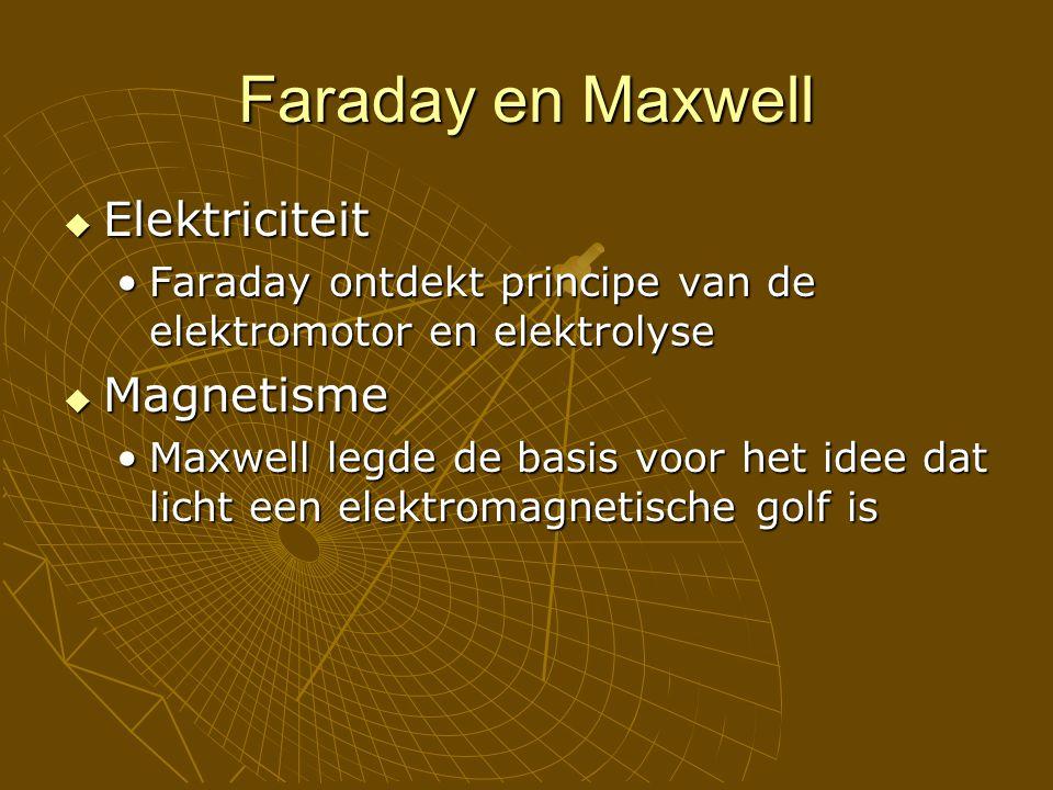 Faraday en Maxwell  Elektriciteit Faraday ontdekt principe van de elektromotor en elektrolyseFaraday ontdekt principe van de elektromotor en elektrolyse  Magnetisme Maxwell legde de basis voor het idee dat licht een elektromagnetische golf isMaxwell legde de basis voor het idee dat licht een elektromagnetische golf is