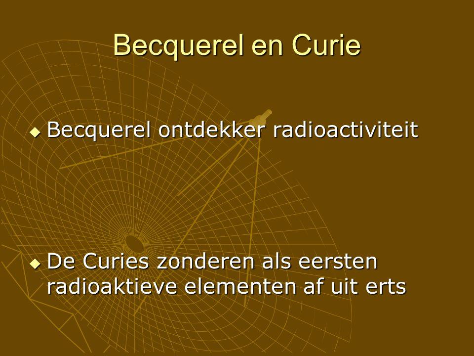 Becquerel en Curie  Becquerel ontdekker radioactiviteit  De Curies zonderen als eersten radioaktieve elementen af uit erts