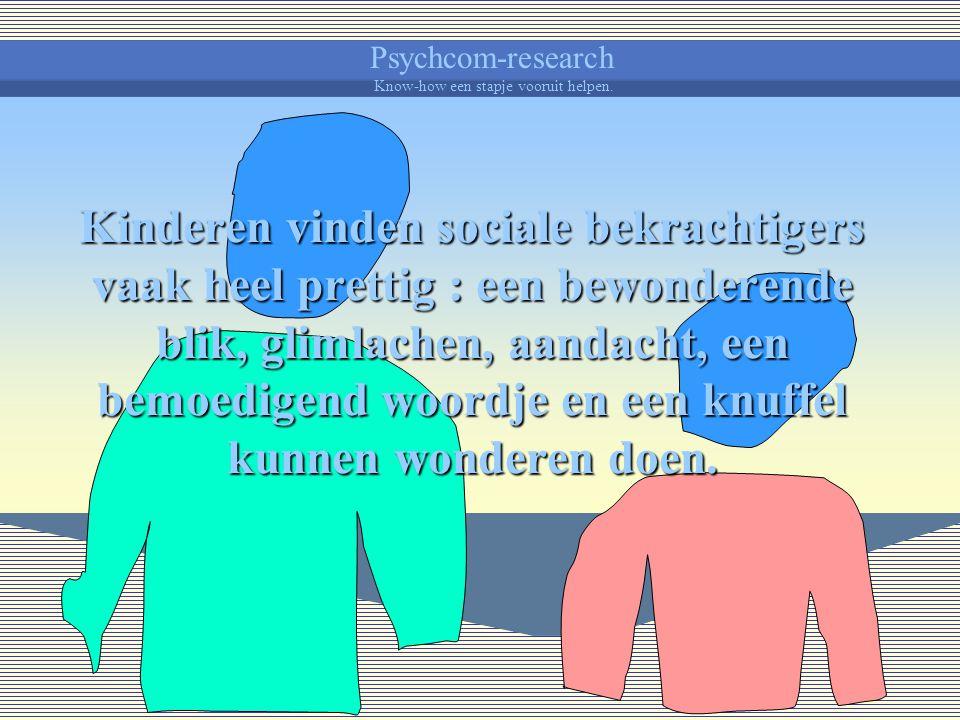 Psychcom-research Know-how een stapje vooruit helpen. Er kan aan gedacht dat belonen niet enkel materieel is, zoals zakgeld, een drankje of iets lekke
