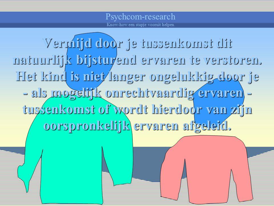 Psychcom-research Know-how een stapje vooruit helpen. Vergeet ook niet dat elke situatie een ervaring met zich meebrengt die op zich belonend of bestr