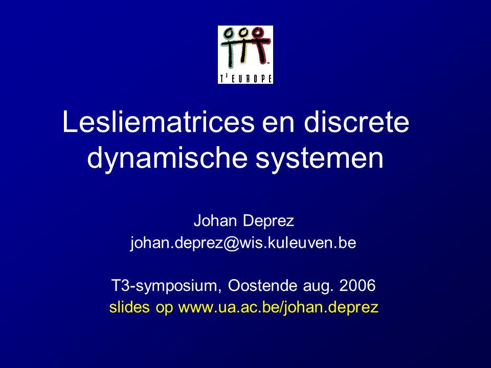 Lesliematrices en discrete dynamische systemen Johan Deprez johan.deprez@wis.kuleuven.be T3-symposium, Oostende aug. 2006 slides op www.ua.ac.be/johan