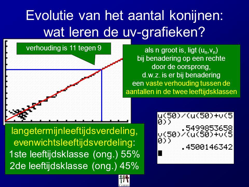 Evolutie van het aantal konijnen: wat leren de uv-grafieken? als n groot is, ligt (u n,v n ) bij benadering op een rechte door de oorsprong, d.w.z. is