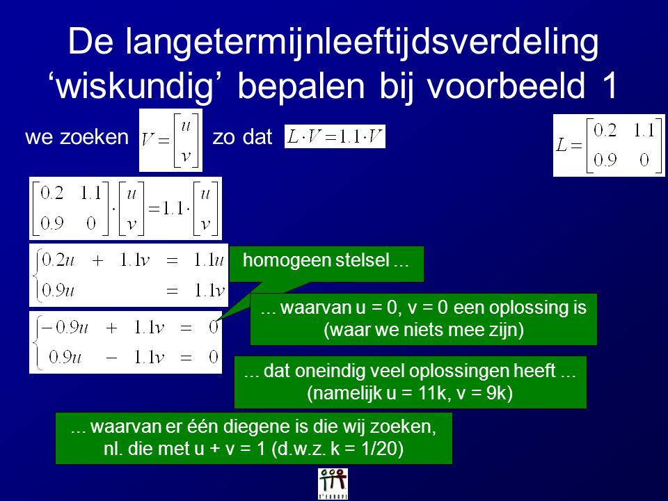 De langetermijnleeftijdsverdeling 'wiskundig' bepalen bij voorbeeld 1 we zoekenzo dat homogeen stelsel...... waarvan u = 0, v = 0 een oplossing is (wa