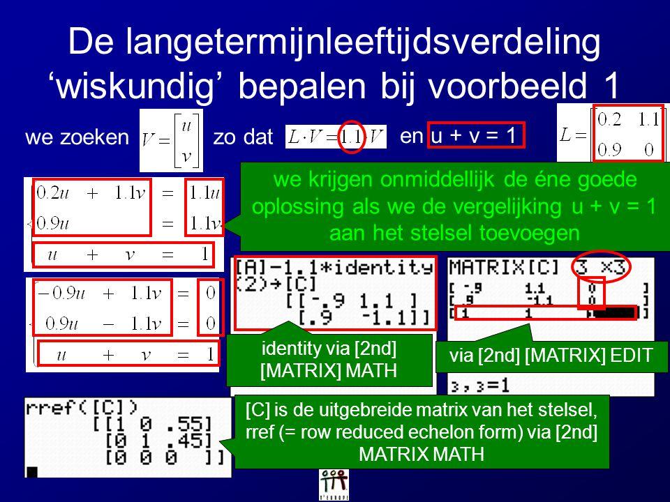 De langetermijnleeftijdsverdeling 'wiskundig' bepalen bij voorbeeld 1 we krijgen onmiddellijk de éne goede oplossing als we de vergelijking u + v = 1