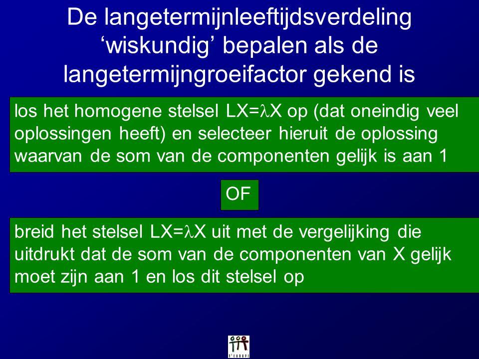 De langetermijnleeftijdsverdeling 'wiskundig' bepalen als de langetermijngroeifactor gekend is los het homogene stelsel LX= X op (dat oneindig veel op
