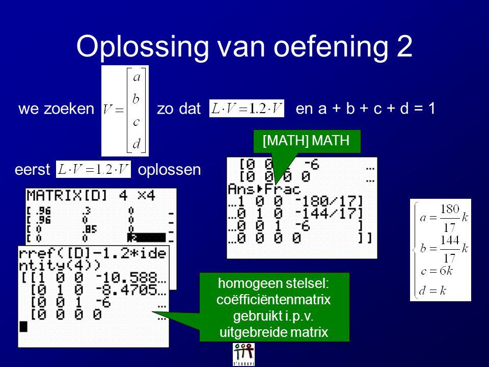 Oplossing van oefening 2 homogeen stelsel: coëfficiëntenmatrix gebruikt i.p.v. uitgebreide matrix we zoekenzo dat en a + b + c + d = 1 [MATH] MATH eer