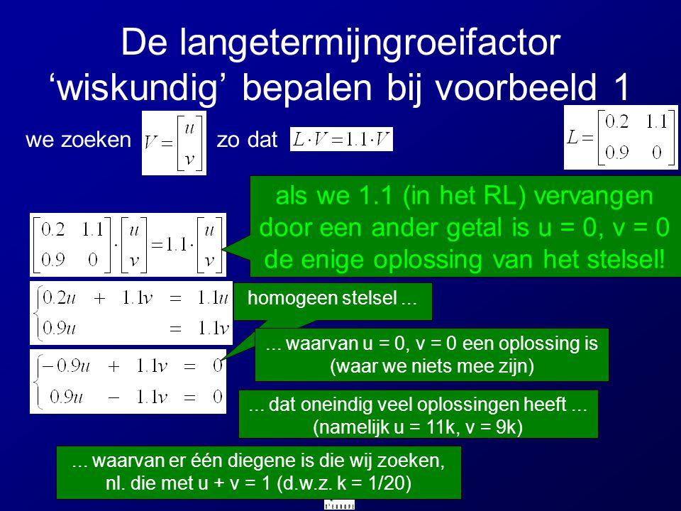 De langetermijngroeifactor 'wiskundig' bepalen bij voorbeeld 1 we zoekenzo dat homogeen stelsel...... waarvan u = 0, v = 0 een oplossing is (waar we n