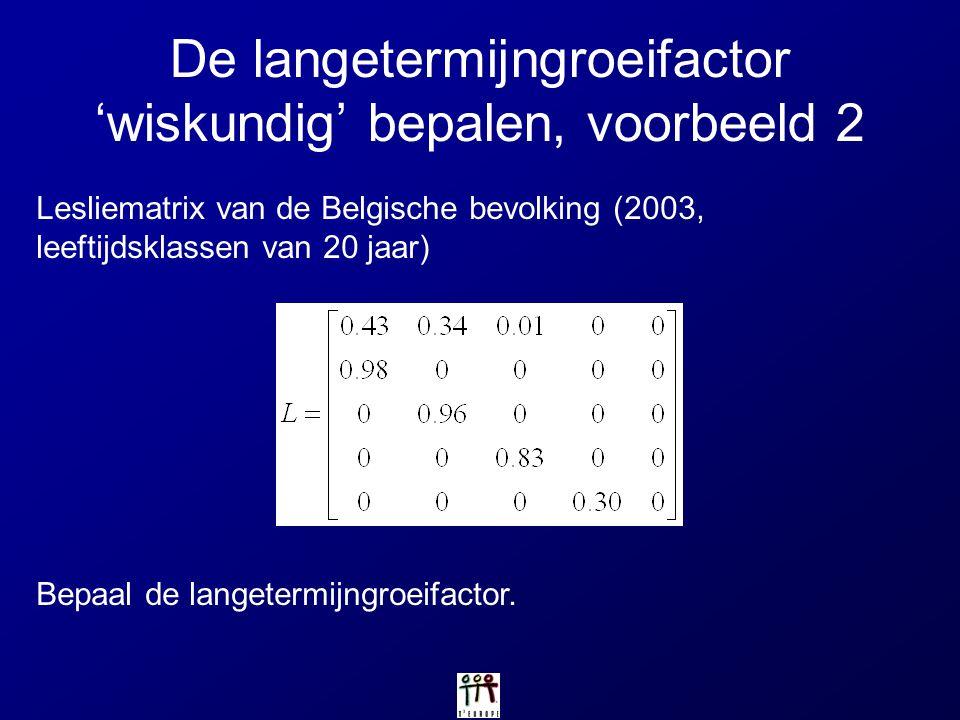 De langetermijngroeifactor 'wiskundig' bepalen, voorbeeld 2 Bepaal de langetermijngroeifactor. Lesliematrix van de Belgische bevolking (2003, leeftijd