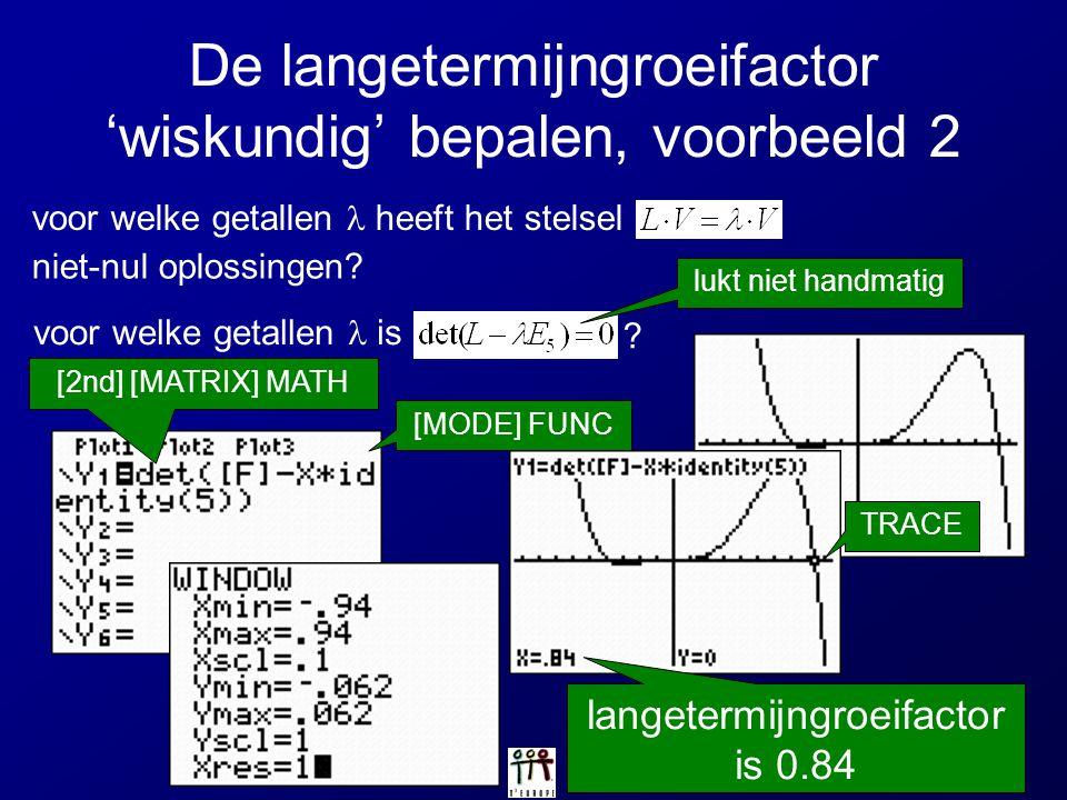 De langetermijngroeifactor 'wiskundig' bepalen, voorbeeld 2 voor welke getallen heeft het stelsel niet-nul oplossingen? voor welke getallen is ? [MODE