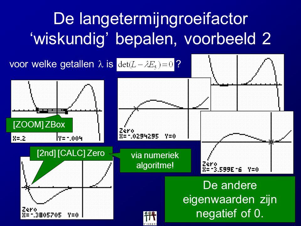 De langetermijngroeifactor 'wiskundig' bepalen, voorbeeld 2 voor welke getallen is ? [ZOOM] ZBox [2nd] [CALC] Zero De andere eigenwaarden zijn negatie