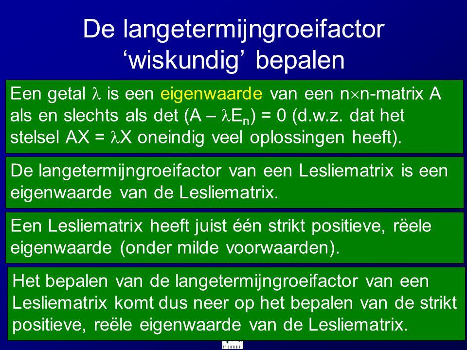 De langetermijngroeifactor 'wiskundig' bepalen Een getal is een eigenwaarde van een n  n-matrix A als en slechts als det (A – E n ) = 0 (d.w.z. dat h