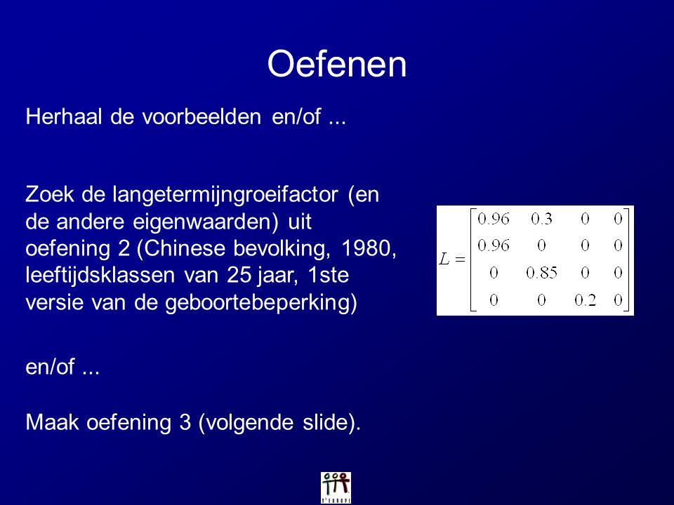 Oefenen Zoek de langetermijngroeifactor (en de andere eigenwaarden) uit oefening 2 (Chinese bevolking, 1980, leeftijdsklassen van 25 jaar, 1ste versie