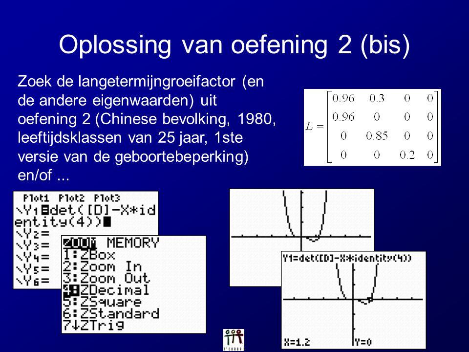 Oplossing van oefening 2 (bis) Zoek de langetermijngroeifactor (en de andere eigenwaarden) uit oefening 2 (Chinese bevolking, 1980, leeftijdsklassen v