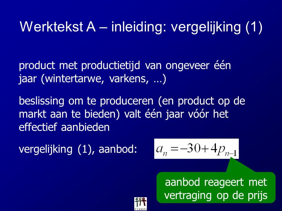 vergelijking (1), aanbod: product met productietijd van ongeveer één jaar (wintertarwe, varkens, …) Werktekst A – inleiding: vergelijking (1) beslissi