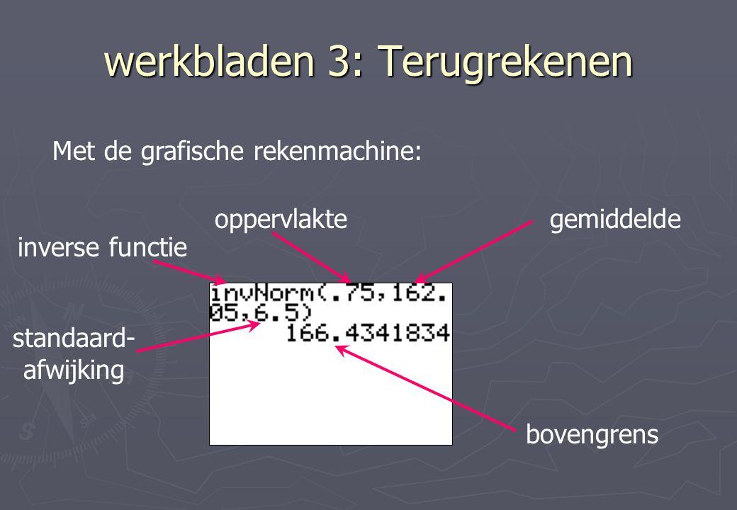 werkbladen 3: Terugrekenen Met de grafische rekenmachine: gemiddeldeoppervlakte inverse functie standaard- afwijking bovengrens