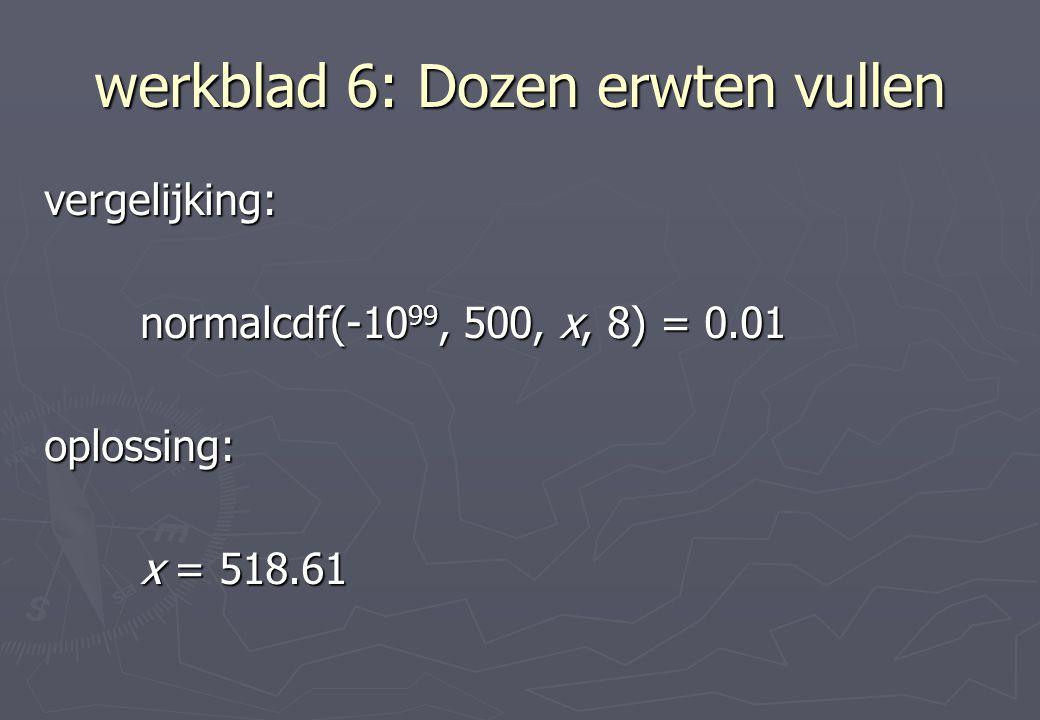 werkblad 6: Dozen erwten vullen vergelijking: normalcdf(-10 99, 500, x, 8) = 0.01 oplossing: x = 518.61