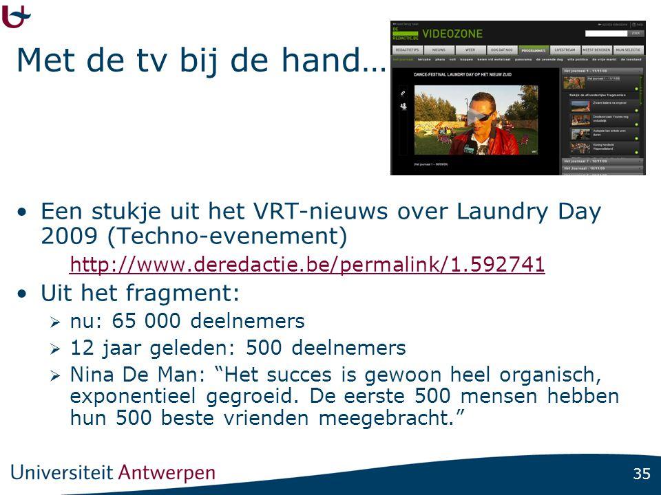 35 Met de tv bij de hand… Een stukje uit het VRT-nieuws over Laundry Day 2009 (Techno-evenement) http://www.deredactie.be/permalink/1.592741 Uit het f