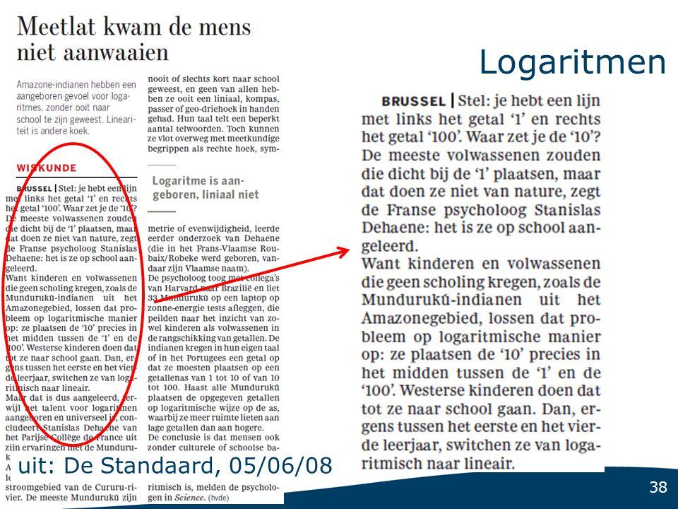 38 Logaritmen uit: De Standaard, 05/06/08