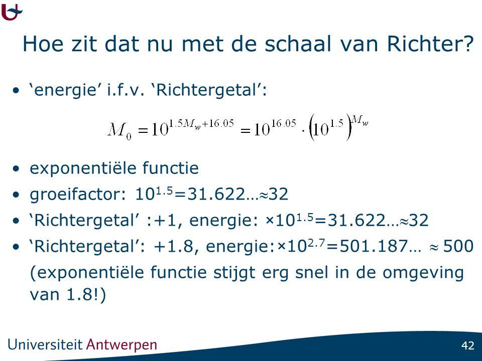 42 Hoe zit dat nu met de schaal van Richter? 'energie' i.f.v. 'Richtergetal': exponentiële functie groeifactor: 'Richtergetal' :+1, energie: 'Richterg