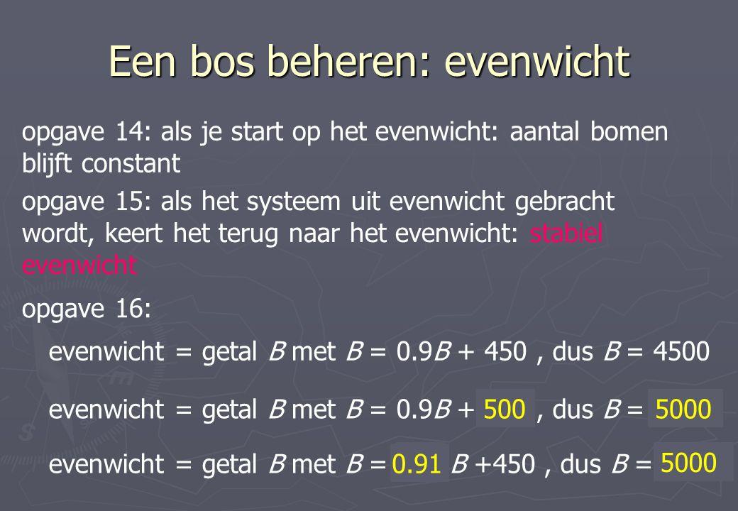 Een bos beheren: evenwicht opgave 14: als je start op het evenwicht: aantal bomen blijft constant opgave 15: als het systeem uit evenwicht gebracht wo