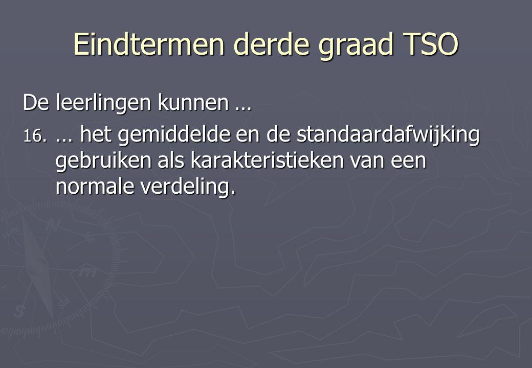 Eindtermen derde graad TSO De leerlingen kunnen … 16.