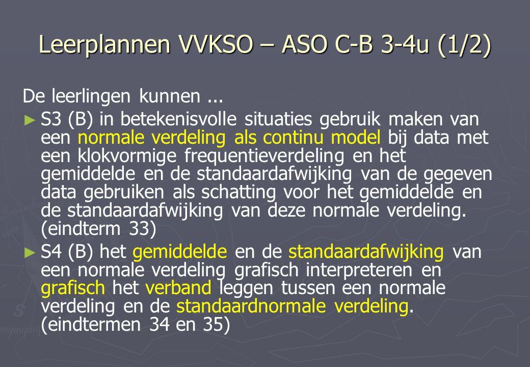 Leerplannen VVKSO – ASO C-B 3-4u (1/2) De leerlingen kunnen...