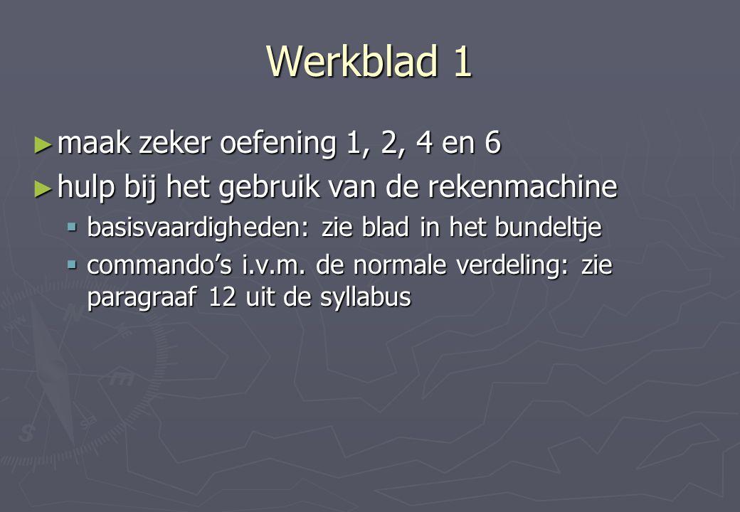 Werkblad 1 ► maak zeker oefening 1, 2, 4 en 6 ► hulp bij het gebruik van de rekenmachine  basisvaardigheden: zie blad in het bundeltje  commando's i.v.m.